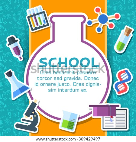 Back to school elements on blue background poster in sticker style design. Vector illustration template card illustration concept