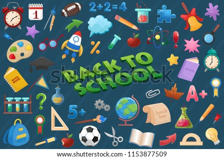 Back to school elements set, education icons.
