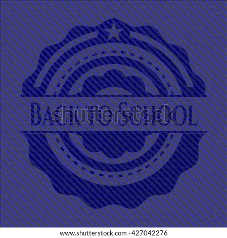 Back to School emblem with denim high quality background