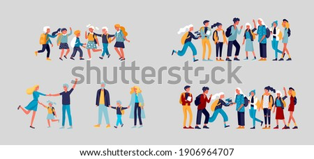 Back to school flat vector illustrations set. Preteen and teenage schoolkids. Parents with kids, schoolmates, friends cartoon characters isolated on white background. Schoolboys and schoolgirls Photo stock ©