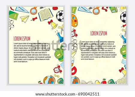 Back to school flyer template with different colored school objects.