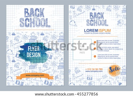 Back to school flyer template with  different school objects. school sale  banners set with orange and blue watercolor splashes