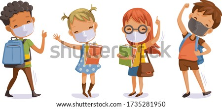 Back to school for new normal concept. Children wearing sanitary masks. Gesture of students and friends at the school. Cartoon character. Vector illustration isolated on white background.