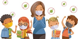 Back to school for new normal concept. Preventing disease, Covid-19. Children wearing sanitary masks. Gesture of teachers, students and friends at the school. Vector illustration isolated.