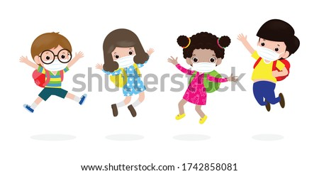 Back to school for new normal lifestyle concept. happy kids jumping wearing face mask protect corona virus or covid 19, group of children and friends go to school isolated on white background Vector
