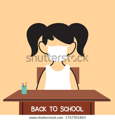 back to school, girl studying in classroom with face masks vector illustration design