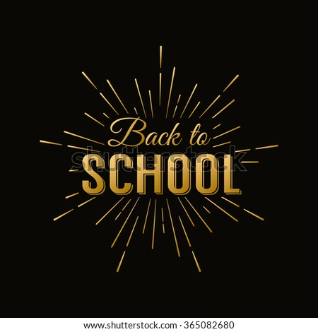Back to School Gold Calligraphic Designs Label On Chalkboard. Retro Style Elements. Vintage Vector Illustration