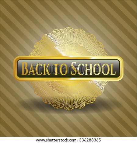 Back to School gold shiny badge