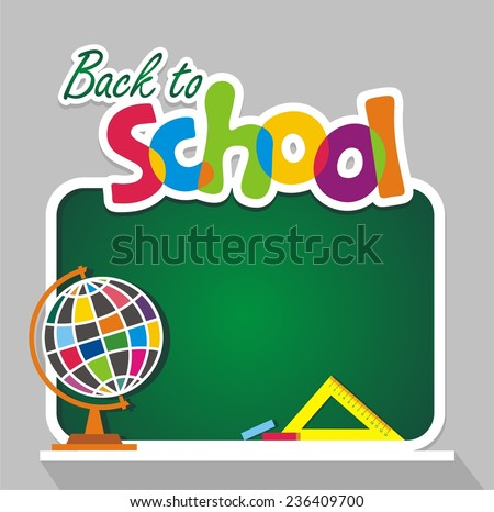 Back to school Green chalkboard Vector illustration