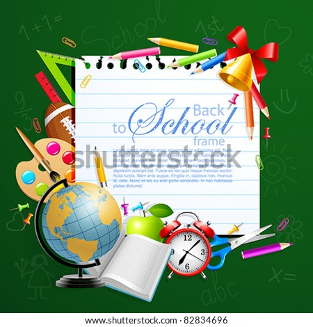 Back to school greeting card with stationery. Vector illustration. Check my portfolio for raster version.