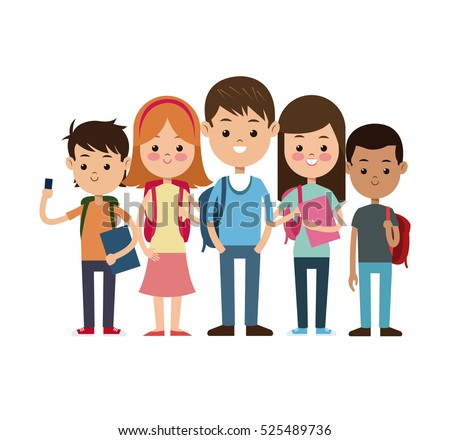 back to school group students ready study