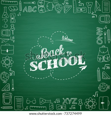Back to school hand-drawn doodles background.Vector illustration