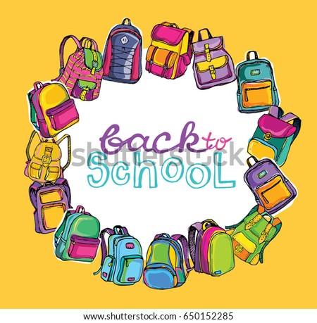 Back to School. Hand drawn Sketch Doodle Backpacks. Casual Backpack, Fashion Backpack. Vector illustration.
