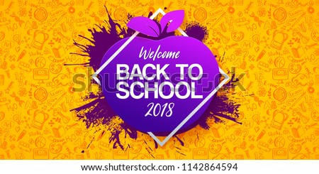 Back to school Horizontal banner with hand drawn Education doodles pattern. Logo on apple and ink splash background. School concept ideas and symbols background. Vector frame illustration
