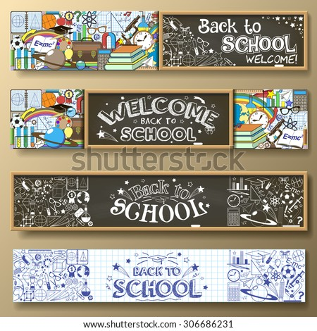Back to School horizontal banners with doodle stationery and other school subjects. Standard for web proportions. Vector illustration.