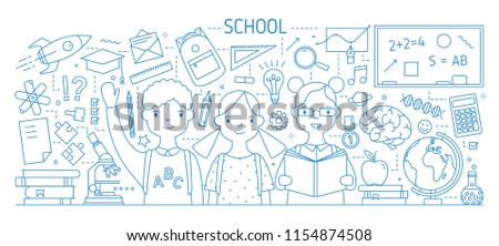 Back to school horizontal web banner with smiling children or pupil, textbooks, stationery drawn with contour lines on white background. Monochrome vector illustration in modern lineart style