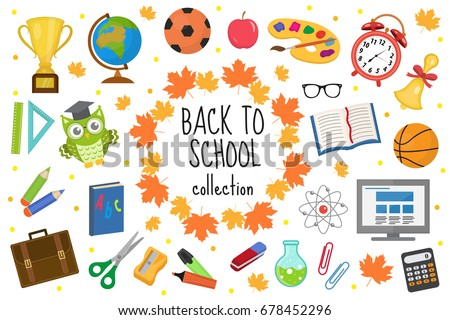 Back to school icon set, flat, cartoon style. Education collection of design elements with stationery, pencil, pen, eraser, globe. Isolated on white background. Vector illustration, clip-art
