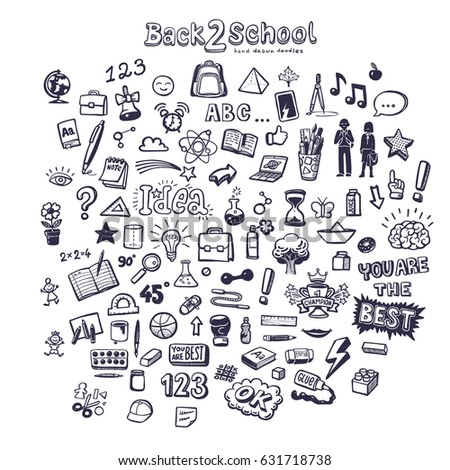 back to school icon set, hand drawn doodles, vector illustration
