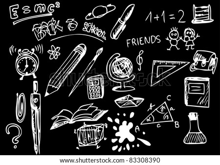 back to school icons - stock vector