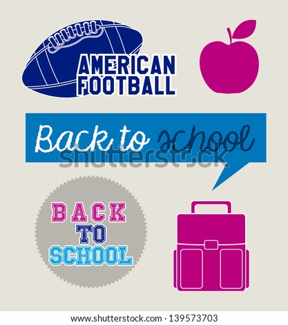 back to school icons over beige background vector illustration