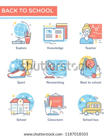 Back to school icons, thin line, flat design