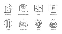 Back to school icons. Vector editable stroke icon. Education online test distance learning book. School bus globe pencils.