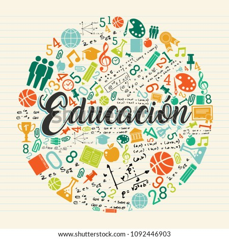 Back to school illustration in spanish language. Class subject icons with education text quote on notebook paper background. EPS10 vector.