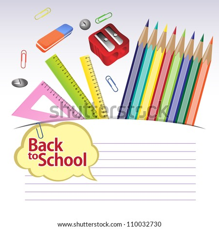 Back to school. Illustration of education object on white background. Grouped for easy editing. In gallery other options are also available.