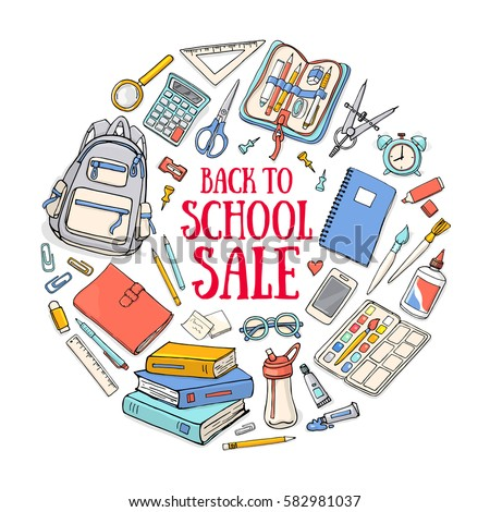 Back to school illustration template on isolated on white background. Sketchy vector concepts with stationery for graphic design, web banner and printed materials.