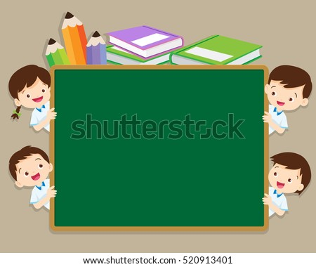5a07095dea67 Back to school illustration with boy and girl in school uniform.back to school  chalkboard