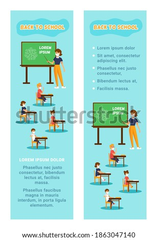 Back to school in New normal concept. Vertical banners with text and cartoon illustration. Teacher and kids wearing medical face masks in classroom. Woman shows on the board. Children sit at desks.