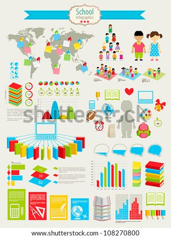 Back to school Infographic set with charts and other elements. Vector illustration.