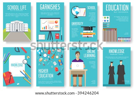 Back to school information cards set. Student template of flyear, magazines, posters, book cover, banners. College education infographic concept background. Layout illustrations modern pages