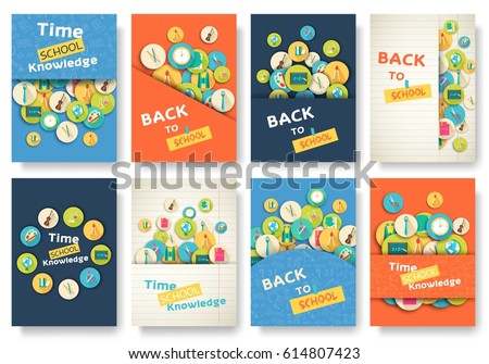 Back to school information pages set. Education template of flyer, magazines, posters, book cover, banner. Exam infographic concept background. Layout illustration template pages with typography text