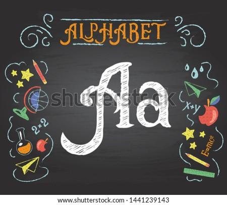 Back to school. Learning alphabet. Alphabet - A