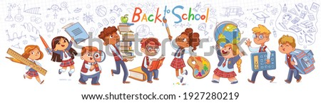 Back to school. Little children holding big school stationery. Long banner. Baby scribbles on the wall. Template for design. Funny cartoon characters. Vector illustration. Isolated on white background