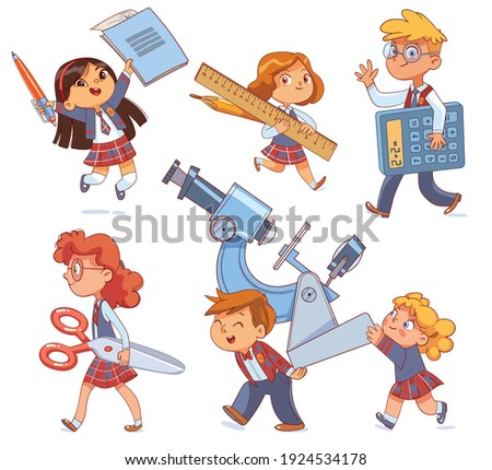 Back to school. Little children holding big school stationery. Set. Notebook and pen. Pencil and ruler. Scissors. Calculator. Microscope. Funny cartoon characters. Vector illustration. Isolated white