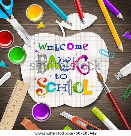 Back to School - multicolored greeting. Lettering sketch collage on a papper silhouette of apple, scholl items and supplies on wooden table surface. Vector illustration.