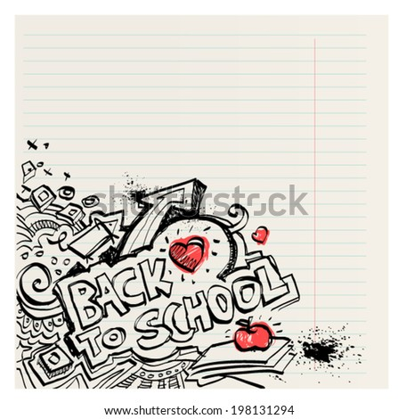 Back to school naive primitive doodles hand drawn with pen and ink on notebook page, children´s style, editable vector