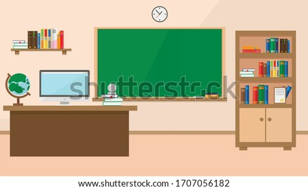 Back to school. New Classroom school in vector flat style. A classroom with a teacher's desk, a school board and a bookcase with books.