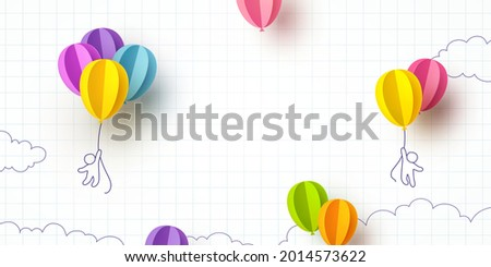 Back to school notebook background. Drawing children and flying colorful paper balloons banner. Vector doodle kids with 3d ballons on empty poster template