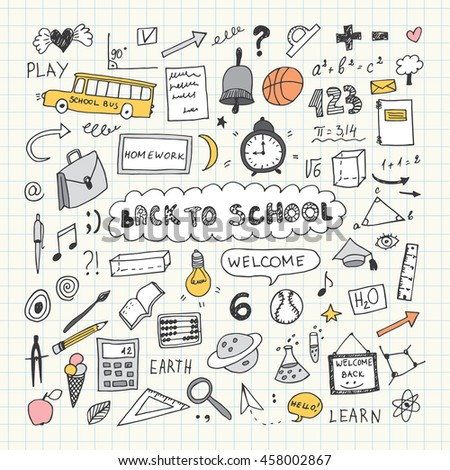 Back to school. Notebook doodle set. Freehand drawing