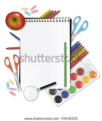 Back to school. Notepad, apple with supplies. Vector.