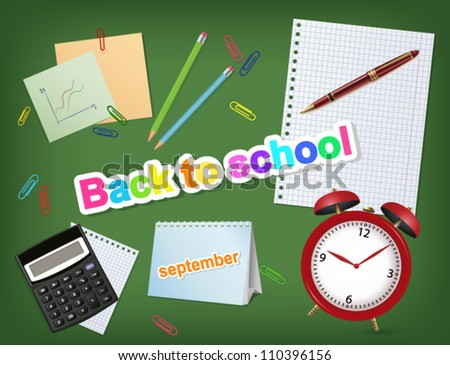 back to school objects and sticker. vector background