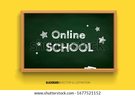 Back to school. online learning. Chalk inscription on a blackboard. Chalkboard 3D. Realistic black boards in a wooden frame isolated on a yellow background. Background for school