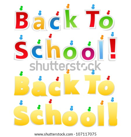 Back To School Paper Words, vector eps10 illustration