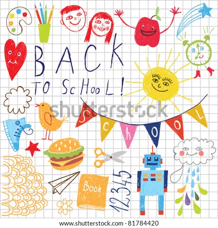 back to school pattern, children drawing - stock vector