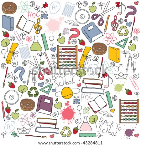 BACK TO SCHOOL PATTERN. Doodles school objects and design elements. Seamless pattern with set of different school things