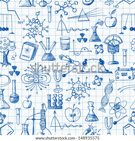 Back to school pen sketch seamless background. Physics and chemistry. Can be used for wallpaper, pattern fills, textile, web page background, surface textures. Vector illustration.