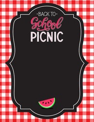 Back to school picnic announcement template. Picnic food icons.